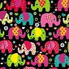 Colorful Elephants on Black Fleece Fabric Print by the Yard k36672xb