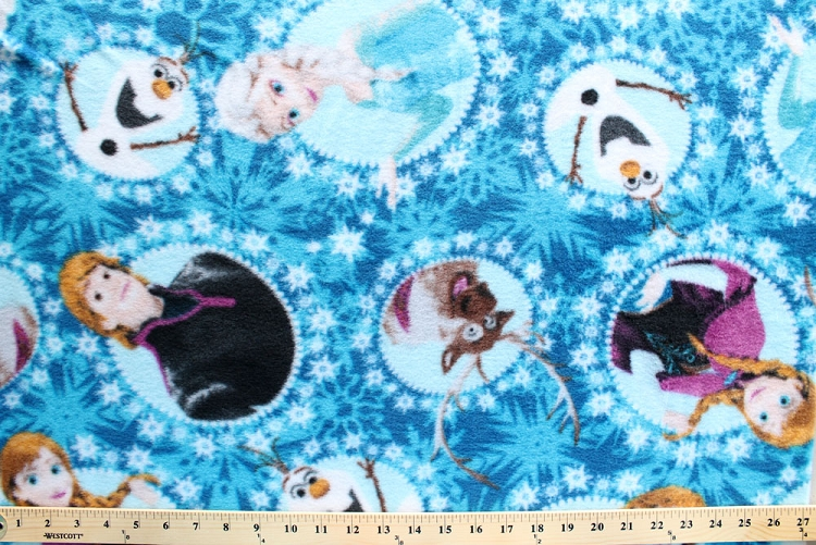 Disney frozen characters framed blue fleece fabric print for Fleece fabric childrens prints