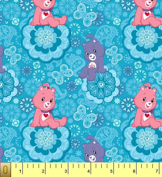 Cute care bears blue childrens kids fleece fabric print by for Kids fabric by the yard