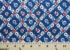 Dutch Tulips and Flowers on Blue Cotton Fabric Print - (lena-C9049-blue)