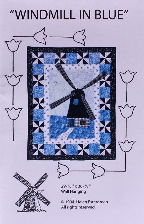 Windmill In Blue Dutch Windmill Wall Hanging Quilting