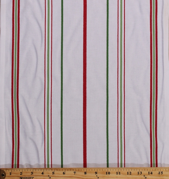 Cotton Toweling 15 5 Quot White With Green Red Stripes