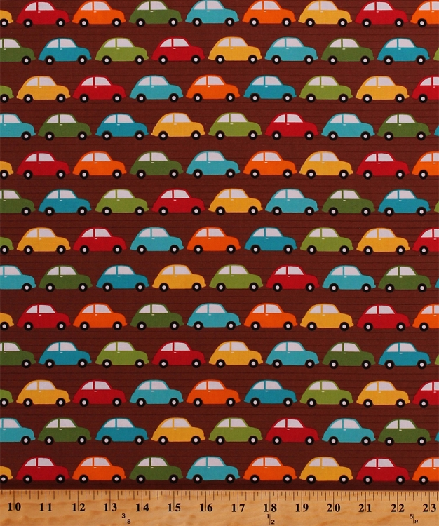Cotton colorful cars volkswagen volkswagon vehicles for Childrens cotton fabric by the yard