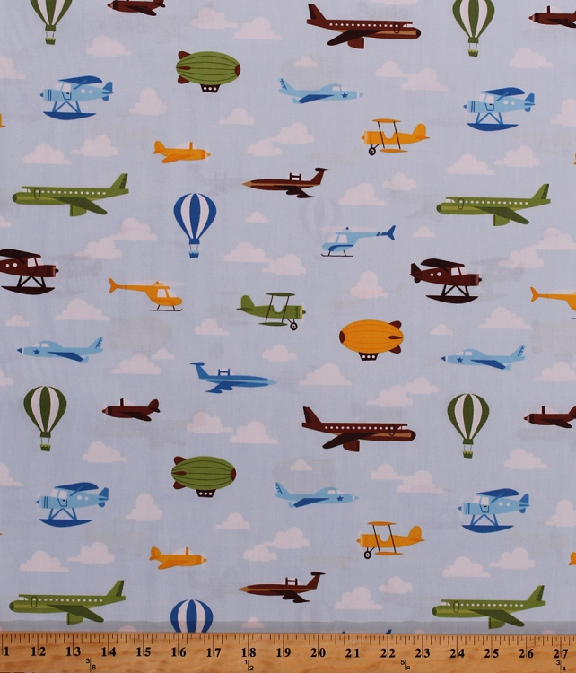 Cotton airplanes jets hot air balloons zeppelins blimps for Airplane print cotton fabric