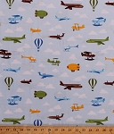 Cotton Airplanes Jets Hot Air Balloons Zeppelins Blimps Helicopters Biplanes Planes Airships Aircraft Vehicles Clouds Blue Sky Flight Aviation Transportation Out N' About Kids Cotton Fabric Print by the Yard (ACY-12839-63-SKY)