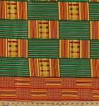 Cotton African Prints Green and Orange Patchwork Squares Stripes Plaid Cotton Fabric Print by the Yard (3995b-9j)