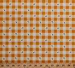 Cotton Barbara Jones Cherry Fizz Tiny Cherries Fruits on Orange Gingham Checkered Cotton Fabric Print by the Yard (5576-4)