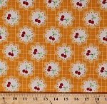 Cotton Barbara Jones Cherry Fizz Cherries Fruits Doilies Orange Grid Pattern Cotton Fabric Print by the Yard (5581-44)