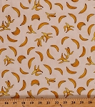 Cotton Bananas Tropical Fruit Food Yellow Funky Monkey Monkeys Cream Cotton Fabric Print by the Yard (15072-11)