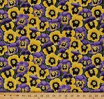 Cotton Emma's Flowers Purple and Yellow Pansies Pansy Leaf Leaves Garden Floral Blossoms Cotton Fabric Print by the Yard (790-L)