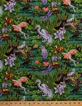 Cotton Animals Birds Swamp Marsh Wildilfe Storks Herons Moose Deer Ducks Flowers Lily Pads Dragonflies Green Purple Nature Studies Cotton Fabric Print by the Yard (AJE-8653-224)