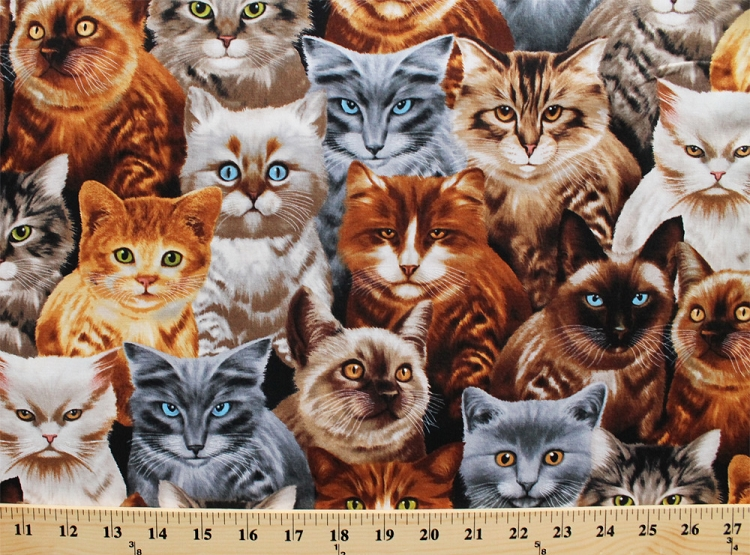 cotton playful cats kittens multi colored kitties pets animals felines packed cotton fabric print by the yard michael c9820