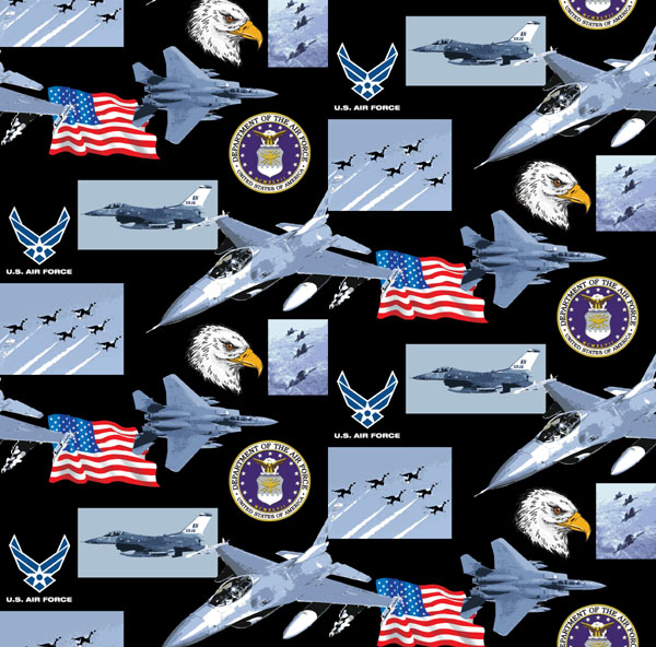 Cotton united states of america air force usa patriotic for Airplane print cotton fabric