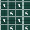 Michigan State University™ Spartans™ Dark Green Helmet Squares College Flannel Fabric Print