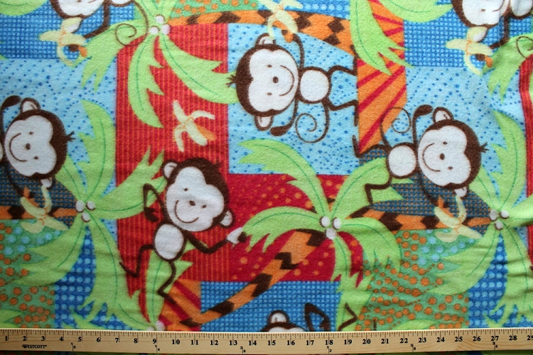 Monkey children 39 s animal kids fleece fabric print by the for Animal print fabric for kids
