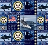 United States of America Navy Fleece Fabric Print by the Yard o1422s