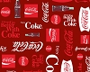 Coca-Cola Bottles Pop Soda Logo Allover Red Fleece Fabric Print by the Yard