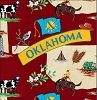 The Sooner State of Oklahoma Map Print Fleece Fabric Print by the Yard o21789b