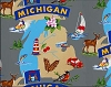 The Wolverine State of Michigan Great Lakes Tourism Tourist Map Print Fleece Fabric Print by the Yard o21790b