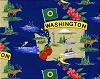 The Evergreen State of Washington Map Print Fleece Fabric Print by the Yard o22105b