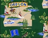 Beaver State of Oregon Map Print Fleece Fabric Print by the Yard o22108b