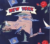 Empire State of New York Map Print Fleece Fabric Print by the Yard o22385b