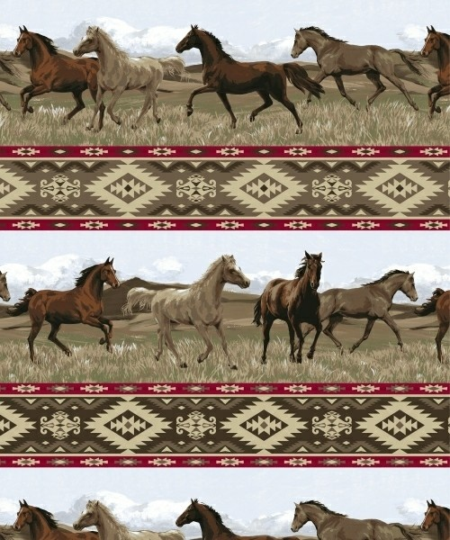 Aztec riders horses southwest fleece fabric print by the for Horse fabric for kids