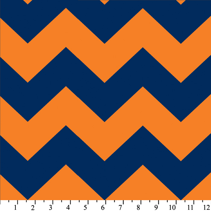 Fleece Chevron Blue / Orange Stripe Zig Zag Fleece Fabric Print ...