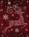Starry Night Reindeer Prance Panel Fabric Kit - Cranberry Red - Sold by the Kit