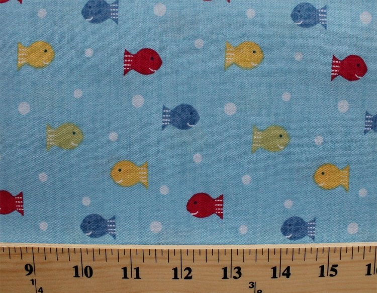 Cotton ships ahoy fishy fishy colorful fish ocean blue for Fish fabric by the yard