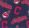 Cleveland Indians 'C' on Navy MLB Baseball Print Fleece Fabric