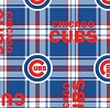 Fleece Chicago Cubs Plaid MLB Baseball Team Sports Fleece Fabric Print by the Yard
