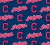 Cotton Cleveland Indians on Navy MLB Baseball Sports Team Cotton Fabric Print by the Yard