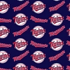 Cotton Minnesota Twins on Blue MLB Baseball Sports Team Cotton Fabric Print by the Yard