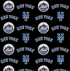 Cotton New York Mets on Black MLB Baseball Sports Team Cotton Fabric Print by the Yard