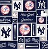 Cotton New York Yankees Squares MLB Baseball Sports Team Cotton Fabric Print by the Yard