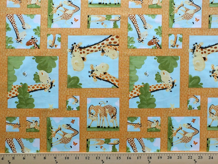 Giraffes squares frames mother and baby giraffe family for Animal print fabric for kids