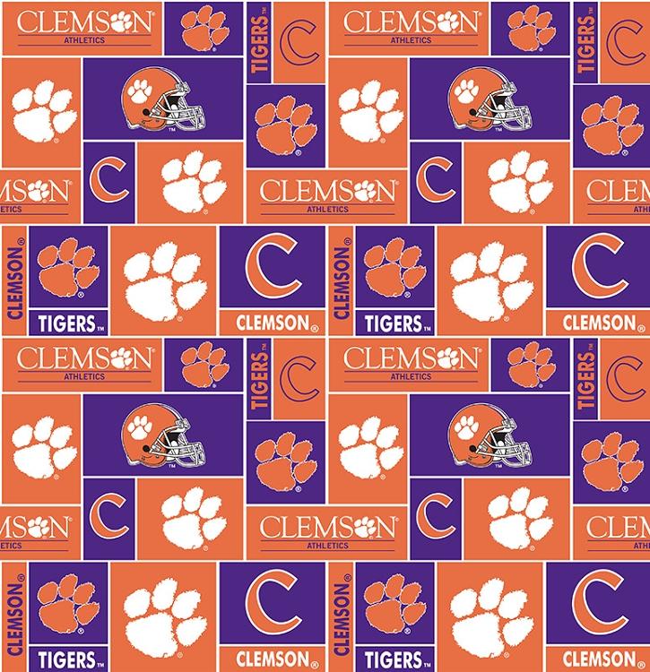 Clemson University Tigers College Fleece Fabric Print
