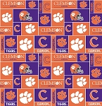Clemson University Tigers College Fleece Fabric Print