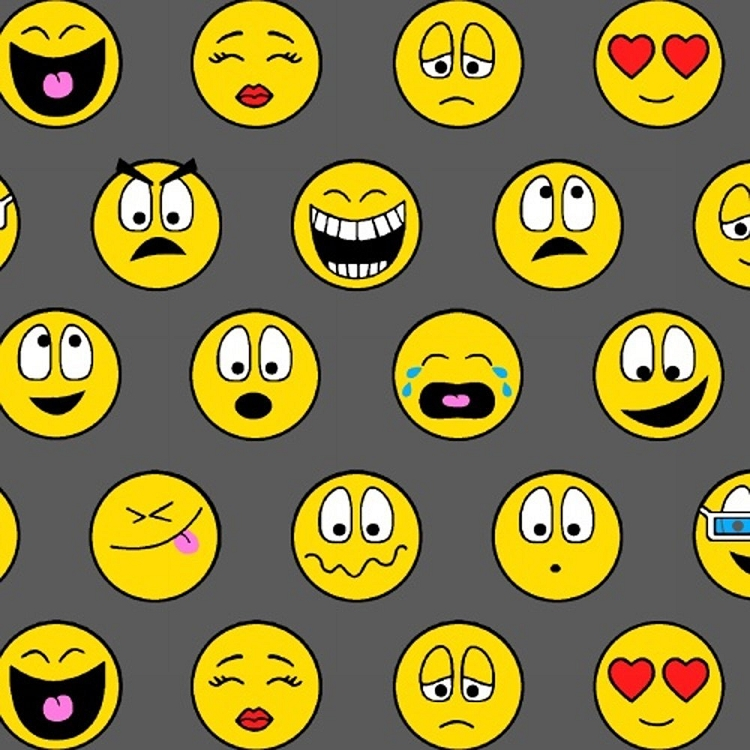Fleece emoticons gray yellow smiley face fleece fabric print by the yard o40912 1b for Emoji material by the yard