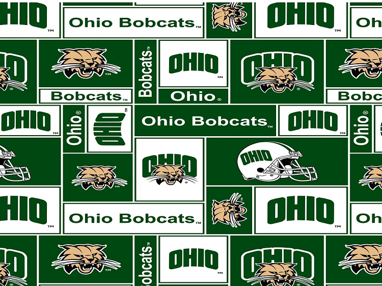 fleece college university of ohio bobcats fleece fabric print by the yard sohio012s. Black Bedroom Furniture Sets. Home Design Ideas