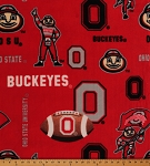 Ohio State University Buckeyes Brutus College Fleece Fabric Print by the Yard