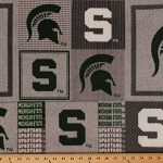 Michigan State University™ Spartans™ MSU Grey Patchwork College Fleece Fabric Print