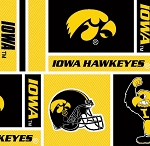 Cotton University of Iowa Hawkeyes College Cotton Fabric Print by the Yard (sia097s)