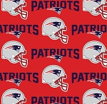 New England Patriots Red NFL Pro Football Cotton Fabric Print - Red