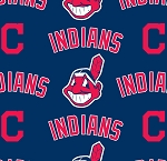 Fleece Cleveland Indians 'C' on Navy MLB Baseball Print Fleece Fabric
