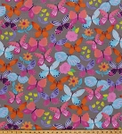 Fleece April Multi-Colored Butterfly Butterflies Flower Flowers on Grey Kids Fleece Fabric Print by the Yard (o46376-5b)