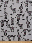 Micro Plush Minkee-like Gray Multi Giraffe Giraffes Cuddle Baby Blanket Fabric By the Yard (2574M-5N)