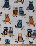 Fleece Owls Branches Leaves Brown and Blue Owls on White Fleece Fabric Print by the Yard o1070s