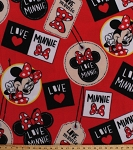 Fleece Minnie Badges Minnie Mouse Tags on Red Kids Fleece Fabric Print by the Yard (59591-D650710s)